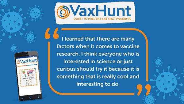 VaxHunt endorsed by high schooler