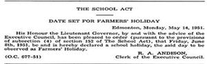 The School Act -- Date Set For Farmers' Holiday