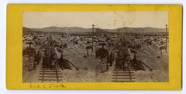 Near Humboldt Lake, Nevada, about 1868 Chinese workers transferring track to an installation handcart  Courtesy of Library of Congress