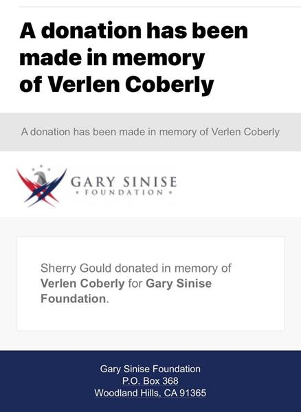 Mitch and Sherry Gould donated to the Gary Sinise Foundation in memory of Verlen Coberly, her father. The foundation, which was founded by actor Gary Sinise, honors veterans, first responders, their families and people in need.