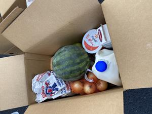 The boxes were supplied by the United States Department of Agriculture in an effort to provide food to families impacted by COVID-19. Each box contained locally sourced fresh fruits and vegetables and dairy and meat products.