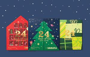 Introducing the DAVIDsTEA 2021 Holiday Countdown Collection, featuring the all-new 24 Days of Tea - Caffeine-Free, the classic 24 Days of Tea, and 2020 top-seller, 24 Days of Matcha.