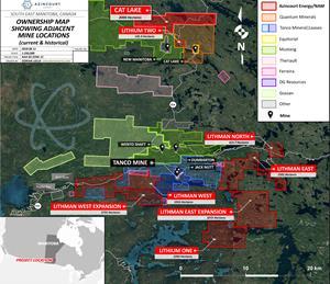 Figure 2: Project Locator - Azincourt/New Age Lithium Portfolio, SE Manitoba, Canada