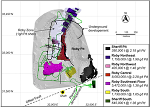 Figure 2.  2018 Feasibility Study Mining Areas and Mineral Reserves at Lac des Iles Mine.