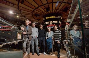 Aaron Sorkin, Ed Harris, Nick Robinson, Nina Grollman and Taylor Trensch inside Madison Square Garden.