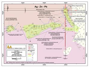Channel Sampling Plan Map Ag-Zn-Pb, Huayra Kasa Underground, Iska Iska Project
