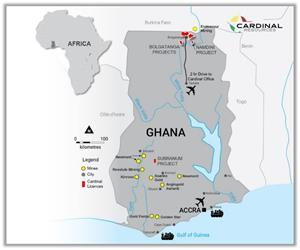 Figure 1: Cardinal Resource's Tenements in Ghana