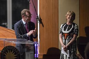 Andy Sherman and Dagmar Dolby deliver remarks at the opening of the Ray Dolby Gateway to American Culture