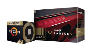 AMD Ryzen 7 2700X Gold Edition processor and AMD Radeon VII Gold Edition graphics card packaging