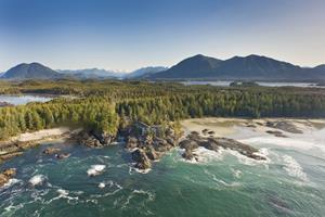Aerial View of the Wickaninnish Inn, Tofino, British Columbia