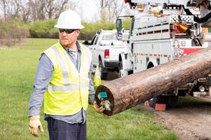 Lineman sets a pole