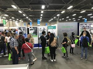Carla Morris, central region director at TransCanada, meets with student visitors at the TransCanada booth during the 2018 Skills Canada National Competition, in Edmonton.