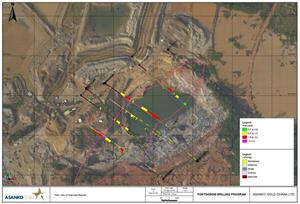 Figure 2: Tontokrom Target showing planned and drilled hole locations for the Phase 1 drilling  program as well as the small scale mining pit (filled with water)