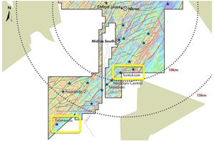 Figure 1: The Tontokrom and Fromenda locations in relation to the AGM processing facility  and the Nkran pit