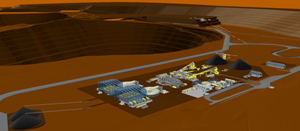 Isometric Illustration (Looking SE) of Processing Related Facilities for the Stand-alone Open Pit PFS.