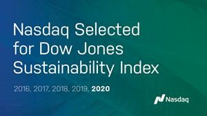 Nasdaq selected for Dow Jones Sustainability Index