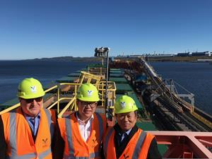 Members of Alderon's executive team at the top of the ship loader at the Port of Sept-Îles as part of a tour of the facilities.