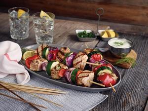 Grilled Pork Kebabs with Tzatziki Sauce