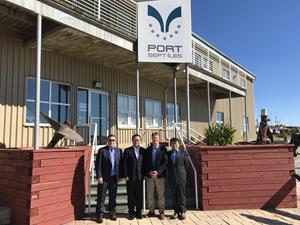 Members of Alderon's executive team outside the headquarters for Port of Sept-Îles with President and CEO, Pierre D. Gagnon.