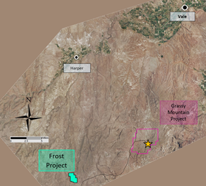 Frost Project location relative to Grassy Mountain