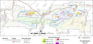 Figure 1: Plan Map of Regional Targets on the Pen Gold Project