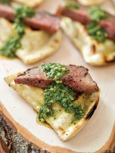Grilled Pierogies with Steak and Chimichurri