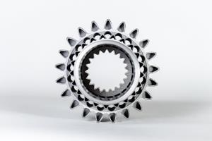 Redesigned and additively produced aerospace pinion, from BTM Aerospace and Carpenter Technology