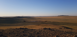Panoramic view of camp and firebreak