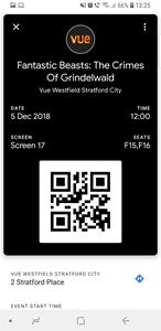 Vue Entertainment movie ticket in Google Pay